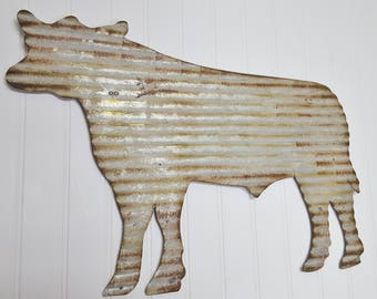 LARGE Corrugated Metal Cow ~ Rustic Farmhouse Wall Decor ~ Large Galvanized Cow Decor ~ Metal Cow Wall Hanging