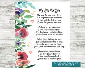 Love Poem Printable, Valentine's Day Poem,  Print, Gift for Boyfriend, Husband, Husband Poem, Wife Poem, Valentine's Day Card