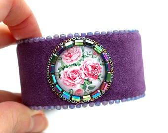 Floral Purple Leather Cuff - Bohemian Cuff-Flower Bracelet-Statement Boho Bracelet-Enchanted Garden Bracelet-Leather Bracelet