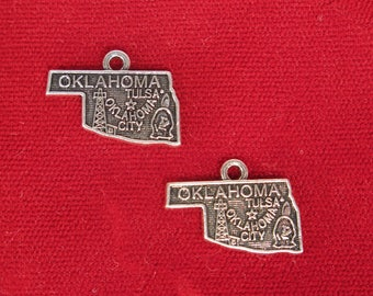 """5pc """"Oklahoma"""" charms in antique silver (BC1289)"""