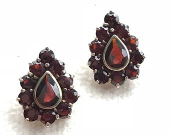 Sterling Silver Genuine Garnet Earrings