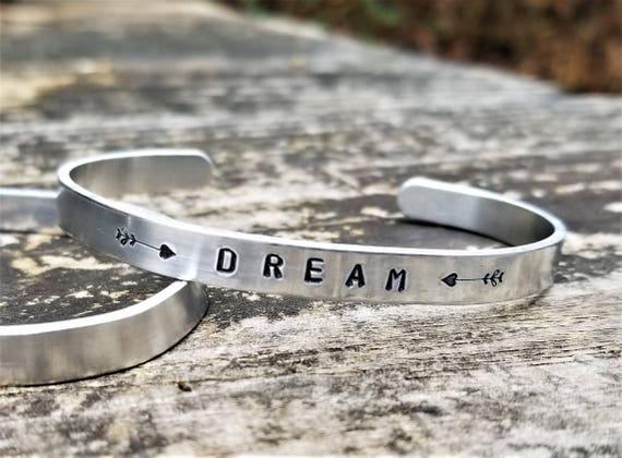 DREAM: Hand Stamped Metal Cuff Bracelet, Aluminum