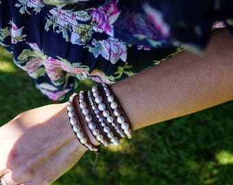 Pink Freshwater Pearl Four Wrap Bracelet