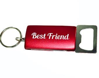"4 Function 3"" Red Engraved Bottle Opener Keychain, Groomsman Gift, Personalized Bottle Opener, Wine Opener, Wood Bottle Opener, Groomsmen"