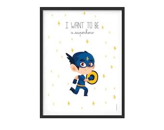 Graphic print for boy kidsroom, superhero