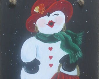 SNOW LADY Slate.  What's even better than a snowman?? YES!! A Snow Lady!  Ruby red lips and all!