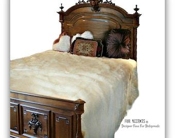 Plush Faux Fur Bedspread - Comforter - Throw Blanket - White or Ivory Shag - Soft Minky Cuddle Fur Lining - Fur Accents Original Designs USA
