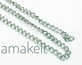 1 yard, 3 feet, Stainless Steel Chain, 6x7.5mm, 1.3mm, Flat Curb Chain