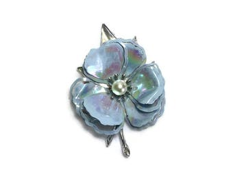 Vintage Flower Brooch, Iridescent Flower Pin with Faux Pearl Center, Mod Flower Power Jewelry, Costume Jewelry