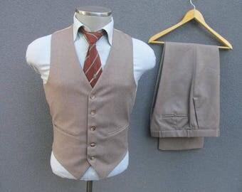 1960s Vintage Three Piece Suit, 60s Vintage Brown 3 Piece Suit Size 36 Small, Brown Wool Suit, Vintage Wedding, Made in Canada, Mad Men