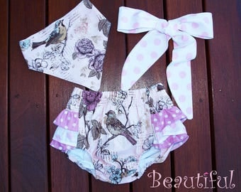 Baby Girl bloomers set, baby diaper Cover,baby nappy cover,baby girl vintage inspired bloomer,bloomer 3 piece set, so adorable...