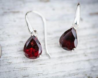 Garnet Dangle Earrings - Garnet and Sterling Silver dangle earrings - Almandine Garnet - Garnet Earrings - Almandine Garnet Earrings Garnet