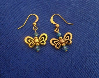 Gold Butterfly Earrings,Dangle Butterfly Earrings,Butterfly Jewelry,Blue Butterfly Earrings