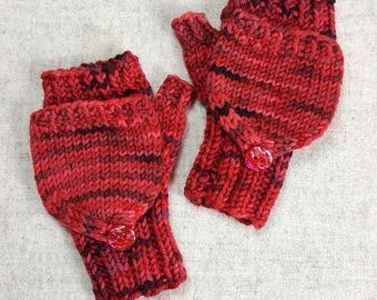 Convertible Fingerless Gloves for abies, red, wool, mittens with flap, gift for baby