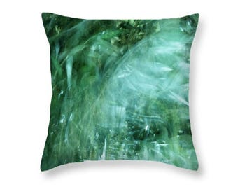 Green Nature Throw Pillow / Pillow Cover. Nature Leaves Outdoor Seat Cushion Botanical Abstract Indoor Throw Pillow Green Botanical Pillow
