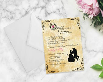 Baby Shower Invitation | Beauty and the Beast - Once Upon A Time | 7x5 Invitation