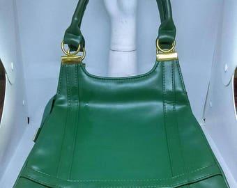 1960's Vibrant Green Large Size Slimline Handbag - Good Condition - Only 45 Pounds!