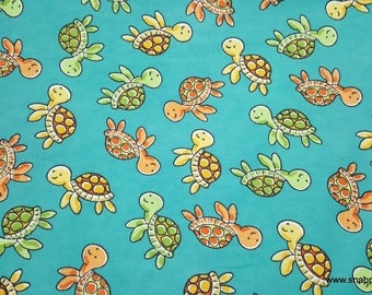 Flannel Fabric - Sweet Turtles Swimming - By the yard - 100% Cotton Flannel