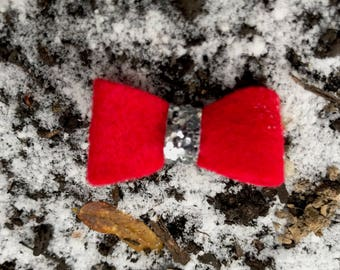 Red and Silver Little Holiday Bow Hair Clip/Headband (you choose) Girl Hair Accessories