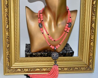 Necklace with a tassel, pink coral PINK ANGEL. Cubic zircon, black Micro Pave.