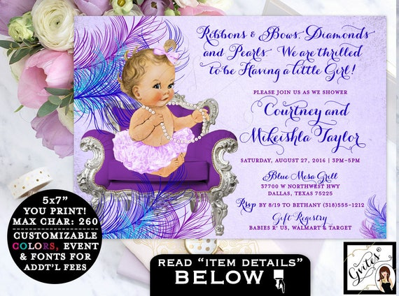 Purple and Teal Baby Shower Invitation, ribbons and bows, tutu, vintage baby girl, customizable invites, blue pink and purple, lavender pink
