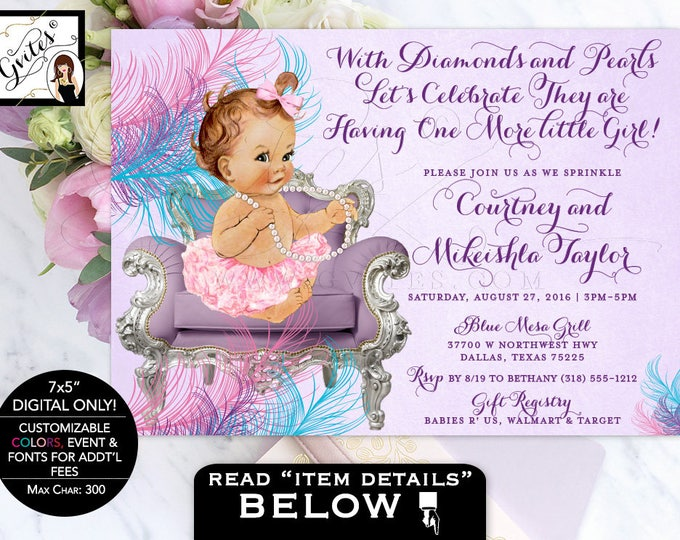 Baby sprinkle shower invitation purple and teal, ruffles and bows, vintage pearls tutus lavender pink purple invites. Digital file only!