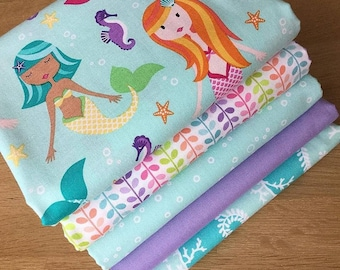 MER-MATES Fat Quarter Bundle C Michael Miller Quilting Fabric Blue Mermaid Sea