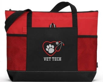 Embroidered Vet Tech Tote Bag/ Vet Tech Tote Bag/ Vet Tech With Stethoscope and Paw Print Tote Bag/  Vet Tech Gift/ Vet Tech Animal Heart