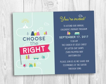 LDS Primary Program invitation, Choose the Right, LDS printable