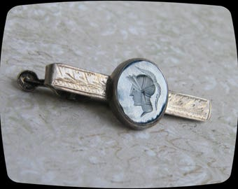Vintage Hematite Greek or Roman Soldier Carved Hematite Tie Clip
