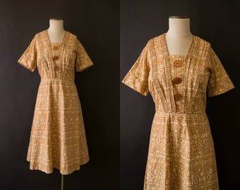 vintage 1950s dress / 50s cotton day dress / xl / Wheat Dress