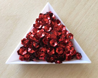 """Glitter / floral Bowl """"iridescent"""" red""""6 mm in bulk"""