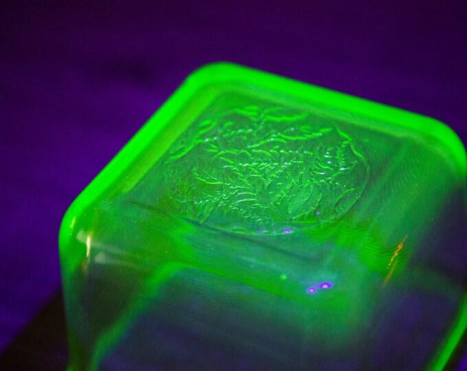 Vaseline Glass Butter Dish / Antique Uranium Yellow Depression Glass Bowl /Vintage Mid Century Modern Geometric Glass Glows Under Blacklight