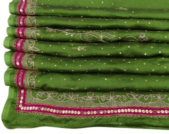Free Shipping Indian Vintage Embroidered Green Dupatta Long Stole Chinmin Scarves Hijab Veil Decorative Fabric DP32307