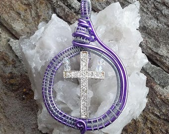 Cross and Swarowski in Purple Metal wire wrapped Pendant