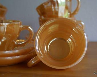 6 Anchor Hocking Fire King Coffee, peach mid-century