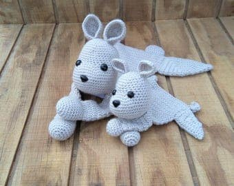 Crochet Gray Kangaroo and Mini Kangaroo Ragdoll Set -- READY TO SHIP