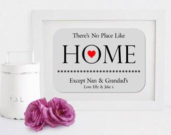 Personalised Nan & Grandad Home Message Framed Print