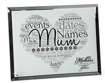 Mum Personalised Word Art Glass Plaque