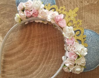 Cinderella inspired Minnie mouse ears headband. Disney princess headband