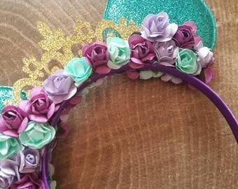 Under the sea princess headband. Under the sea mermaid ears. Disney ears. Minnie mouse ears. Princess Ariel Minnie mouse ears