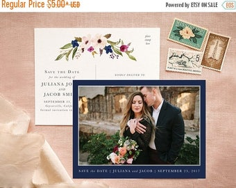 Boho Chic Save the Date Postcard in Blush and Navy