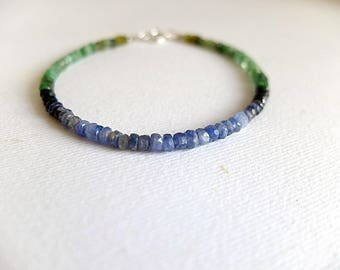 Ombre Beaded Bracelet.blue sapphire, green emerald, apple green tourmaline,stacking bracelet,ombre bracelet, blue green shaded gem bracelet