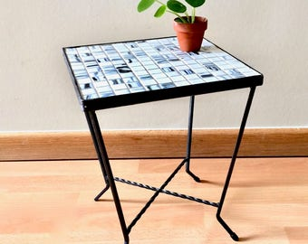 Mid century mosaic and wrought iron side table, white grey mosaic plant table, ceramic tile table