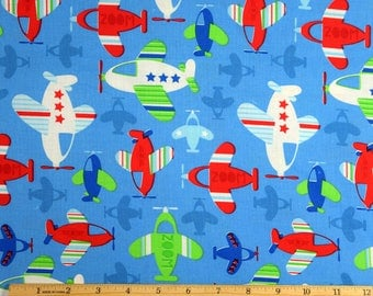 Airplane Fabric Airplanes Allover in Blue 100% Cotton