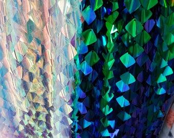 2018 New!!1 Yard Square,Stereovision Iridescent Sequin Fabric,Iridescent Sequin Unicorn,Concave-Convex Sequin,Sparkle Paillette Fabric