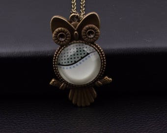X 1 bronze OWL necklace and a white-gray glass cabochon