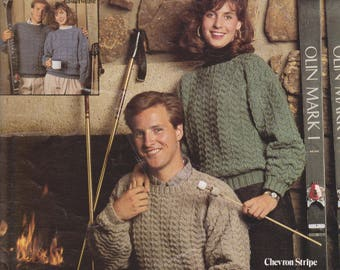 Knitting pattern For Him and Her Leisure Arts 660 Chevron Stripe Basketweave by Dee Russo Bender
