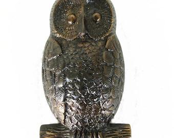 OWL Solid Brass Door Knocker Hoot in Antiqued Darkened Bronze Finish