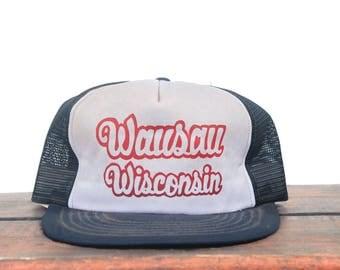 Vintage Wausau Wisconsin North Midwest Dairyland Script Trucker Hat Snapback Baseball Cap